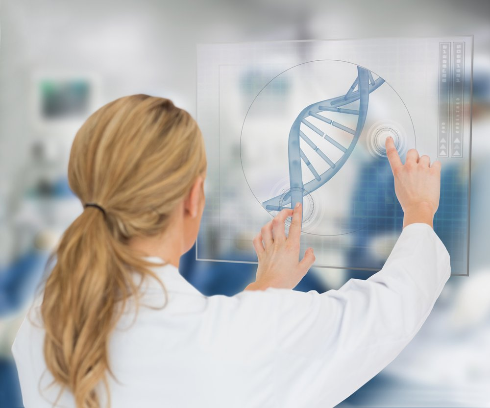 Woman using DNA helix interface hologram