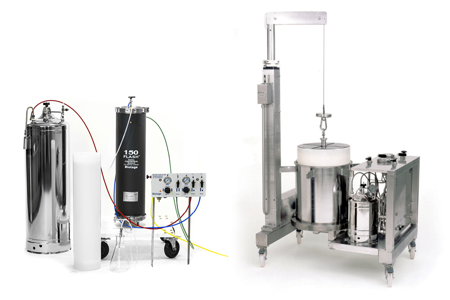 large scale flash purification systems