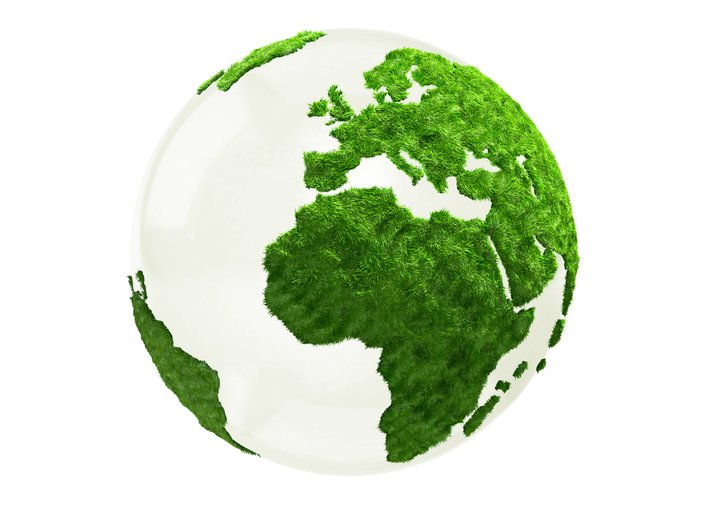 3D World map in grass - isolated over a white background-1